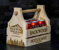 Backwood Hooligans Wooden Beer Can Carrier
