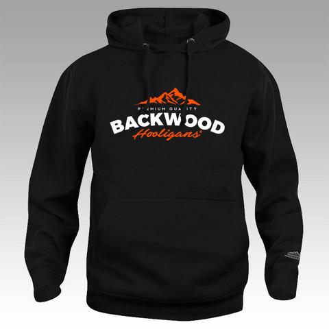 XL - Backwood Hooligans vetoketjuton huppari oranssilla vuorilogolla