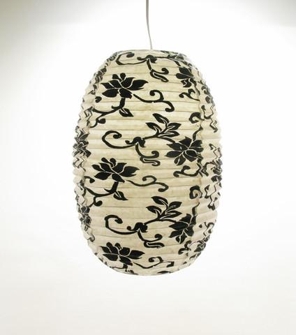Lokta-ovaali 27x46cm, luonnonvalkoinen, musta lootuskukkapainatus