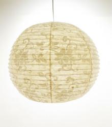 Lokta-pallo 44cm, luonnonvalkoinen, valkea lootuskukkapainatus