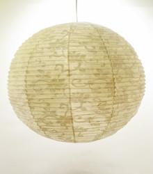 Lokta-pallo 58cm, luonnonvalkoinen, valkea lootuskukkapainatus