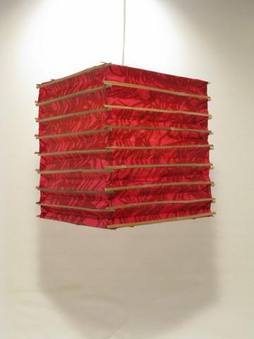 Lokta-kuutio 30x30x40cm, pinkki/t.punainen bambunlehti