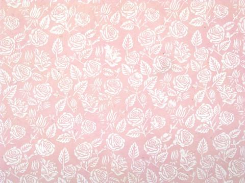 50x75cm vaaleanpunainen D/40, valkoinen ruusupainatus
