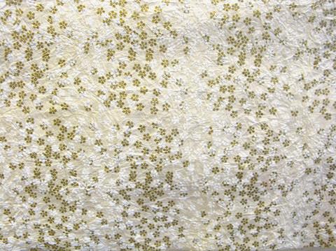 50x75cm luonnonvalkoinen FF/20, painettu pikkukukka valkoinen/kulta, rypytetty
