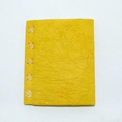 Vieraskirja A5, ryppykansi ja punos, keltainen