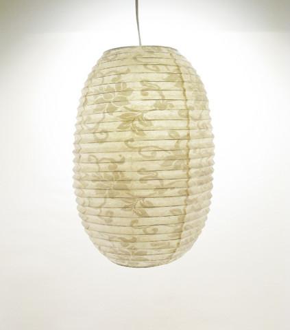 Lokta-ovaali 27x46cm, luonnonvalkoinen, valkea lootuskukkapainatus