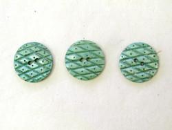 Puhvelinluunappi, pyöreä, ruutukuvio, 25mm, vihreä