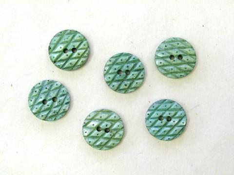 Puhvelinluunappi, pyöreä, ruutukuvio, 20 mm, vihreä