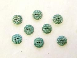 Puhvelinluunappi, pyöreä, ruutukuvio, 17mm, vihreä