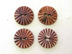 Puhvelinluunappi, pyöreä, sädekuvio, 25mm, ruskea