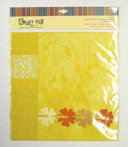 Craft It -paperisetti ja paperikukkia, 30x30cm keltainen