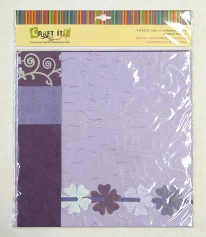 Craft It -paperisetti ja paperikukkia, 30x30cm liila