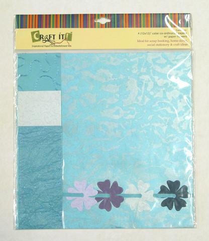 Craft It -paperisetti ja paperikukkia, 30x30cm turkoosi