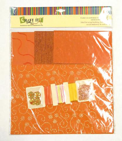 Craft It -paperisetti ja koristeita, 30x30cm oranssi