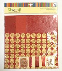 Craft It -paperisetti ja koristeita, 30x30cm punainen