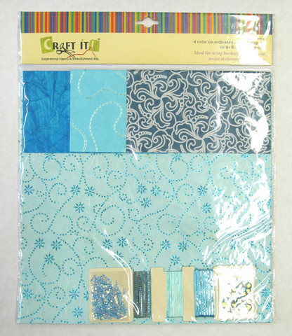 Craft It -paperisetti ja koristeita, 30x30cm turkoosi