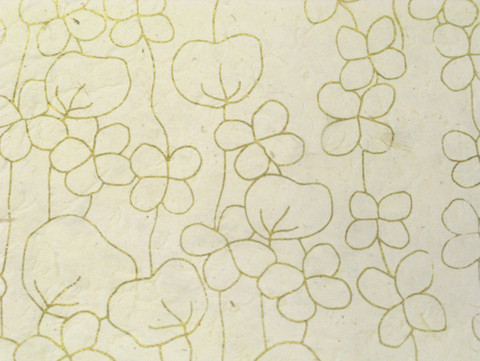 50x75 RRS pikkukukka, valkea kultaisella painatuksella