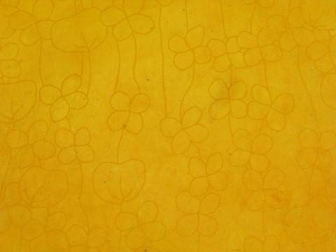 50x75 RRS pikkukukka, keltainen tummankeltaisella painatuksella