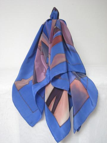 Iso, käsinmaalattu huivi kiinalaista silkkiä, sini-liila