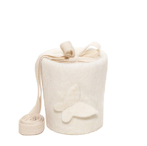 C01 butterfly, natural white, felt cone baby