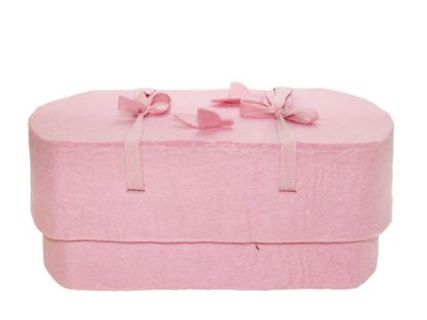 C15C perhonen, vaaleanpunainen, huopa ovaali vauva-arkku S