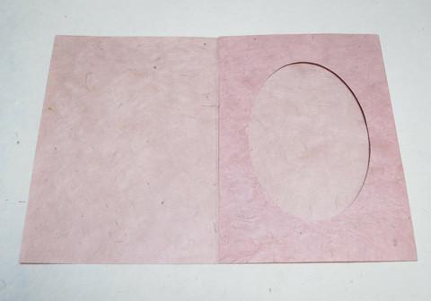 Kiitoskortti ovaalilla aukolla, vaaleanpunainen