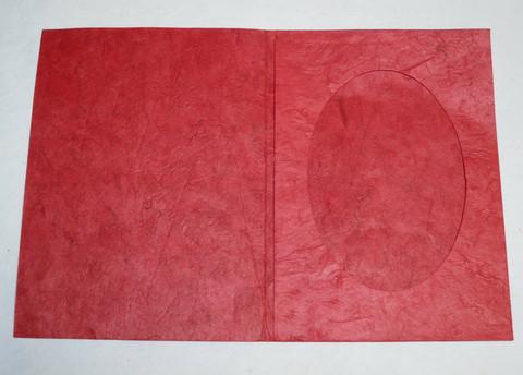 Kiitoskortti ovaalilla aukolla, punainen