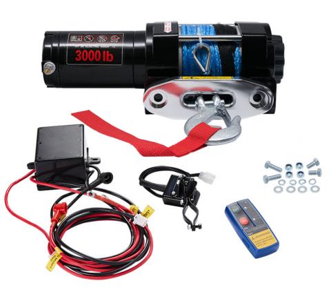 Sähkövinssi nylonköydellä 12V 1360kg, kauko-ohjain + langaton kauko-ohjain