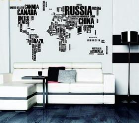 Sisustustarra World Map Text XL