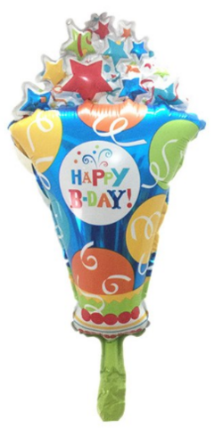 Foliopallo Happy B-DAY! Popcorn 53x27cm