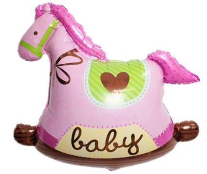 Foliopallo Baby vaaleanpunainen keinuhevonen 43x43cm