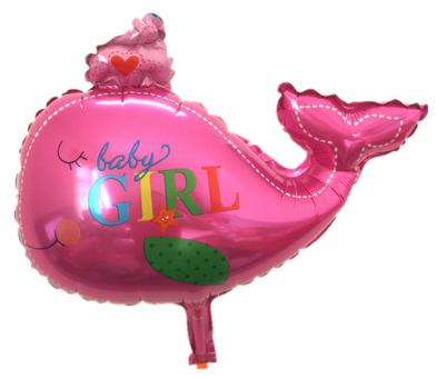 Foliopallo Baby girl vaaleanpunainen valas 43x37cm