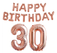 Foliopallosarja Happy Birthday 30 (shampanja)