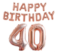 Foliopallosarja Happy Birthday 40 (shampanja)