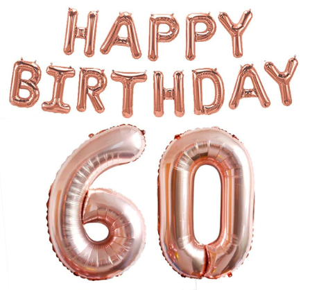 Foliopallosarja Happy Birthday 60 (shampanja)