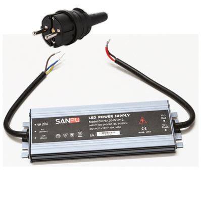 LED muuntaja pistotulpalla 120W, 12V, IP67, myös ulkokäyttöön