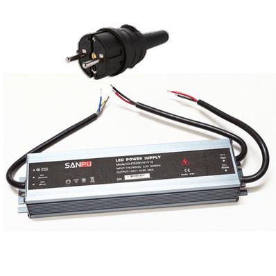 LED muuntaja pistotulpalla 200W, 12V, IP67, myös ulkokäyttöön