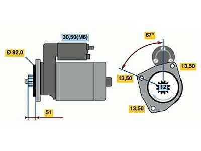 Starttimoottori Bosch 0001330008