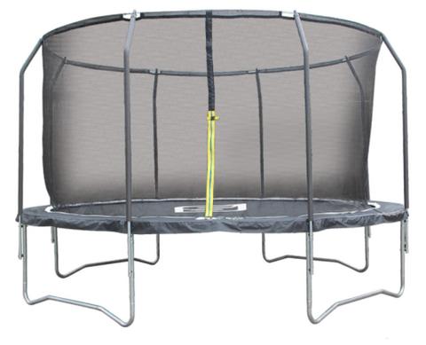 Ennakkomyynti! iSport Air Black 4,3m 104 jousta trampoliini turvaverkolla