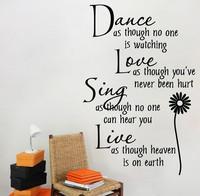Sisustusteksti Dance Love Sing Live