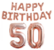 Foliopallosarja Happy Birthday 50 (shampanja)