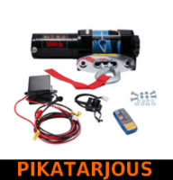 Sähkövinssi nylonköydellä 12V 1360kg, kauko-ohjain + langaton kauko-ohjain - PIKATARJOUS!
