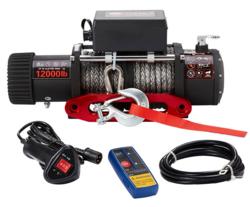 Sähkövinssi nylonköydellä 12V 5440kg, kauko-ohjain + langaton kauko-ohjain - PIKATARJOUS!