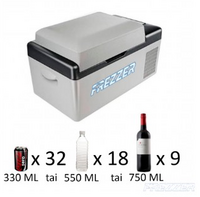 Frezzer 20L matkajääkaappipakastin kompressorilla DC 12/24 V, AC 230 V
