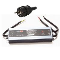LED muuntaja pistotulpalla 150W, 12V, IP67, myös ulkokäyttöön