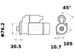 Starttimoottori Mahle IS1045 (Bukh Marine, Hatz, Lombardini, Ruggerini)