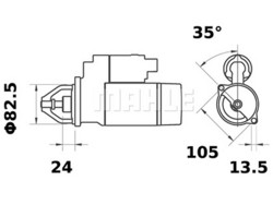 Starttimoottori Mahle IS0432 (Hanomag, Lombardini, Mercedes-Benz, Sabb Marine)
