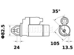 Starttimoottori Mahle IS1033 (BMW Marine, Hatz)