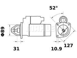 Starttimoottori Mahle IS0552 (Claas, Deutz-Fahr K.H.D. Liebherr, Magirus-Deutz, New Holland)