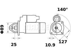 Starttimoottori Mahle IS0705 (Case)